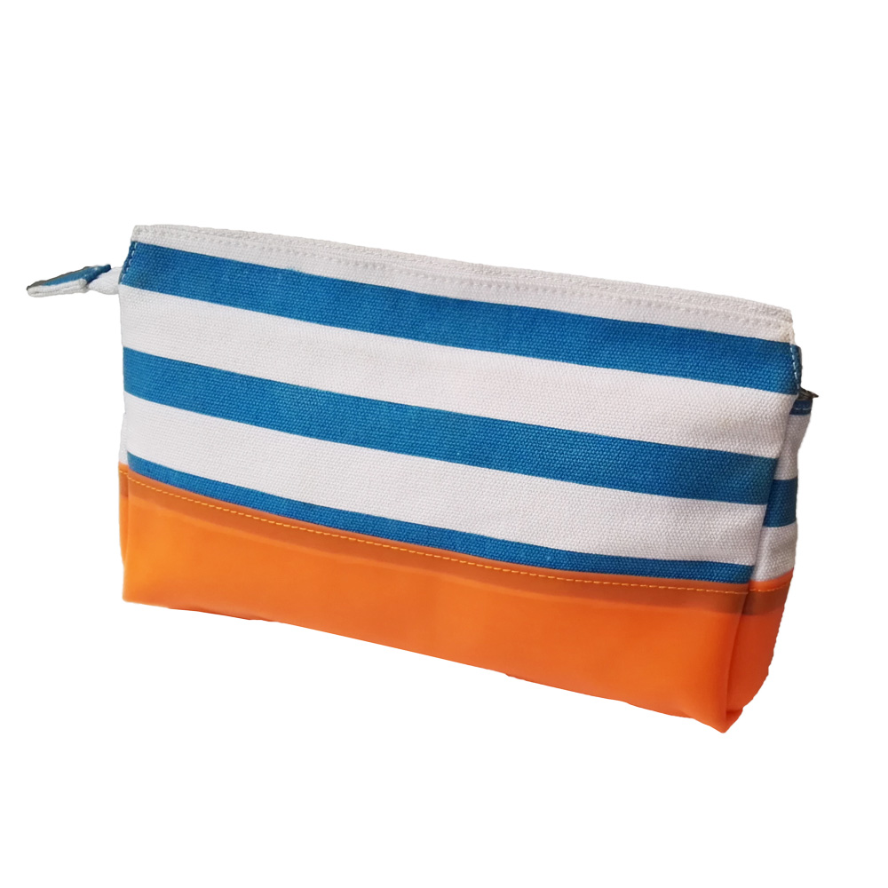 Recycled RPET polyester canvas cosmetic bag with orange TPU bottom