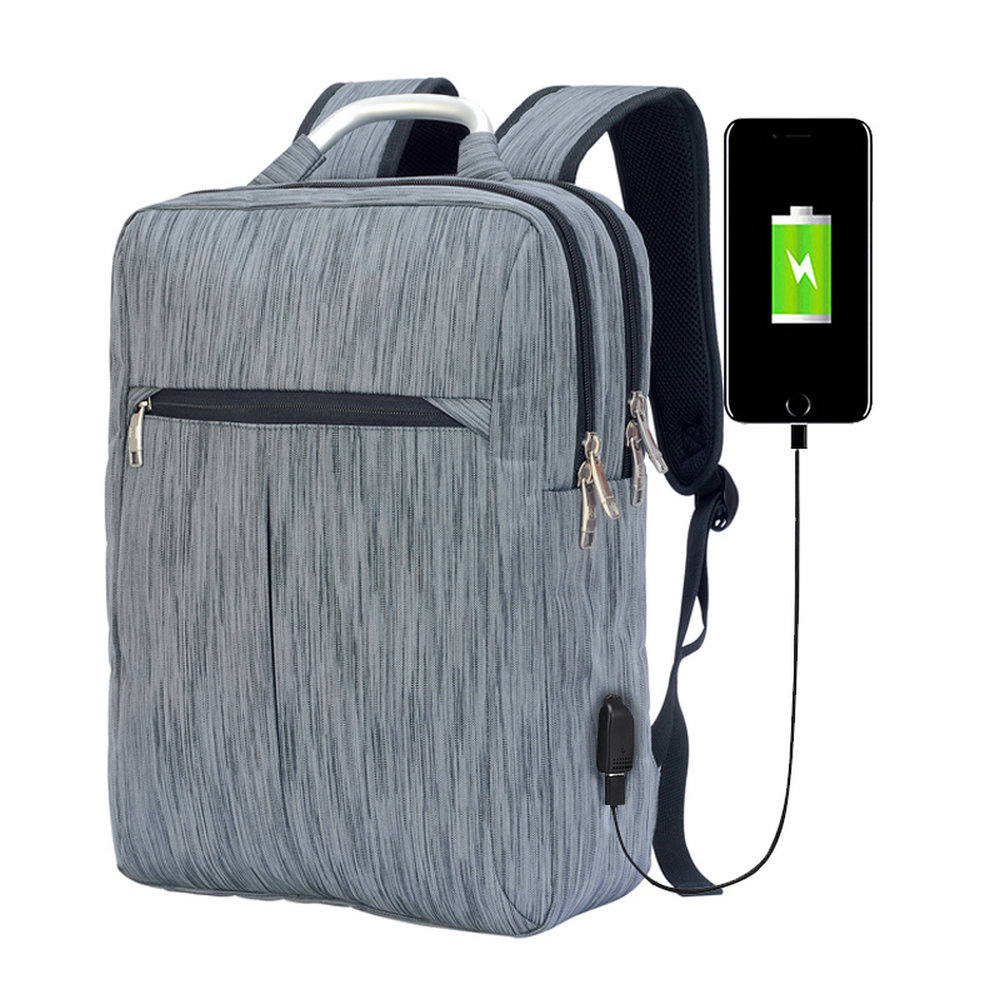 Wholesale waterproof gray oem man business backpack with power bank