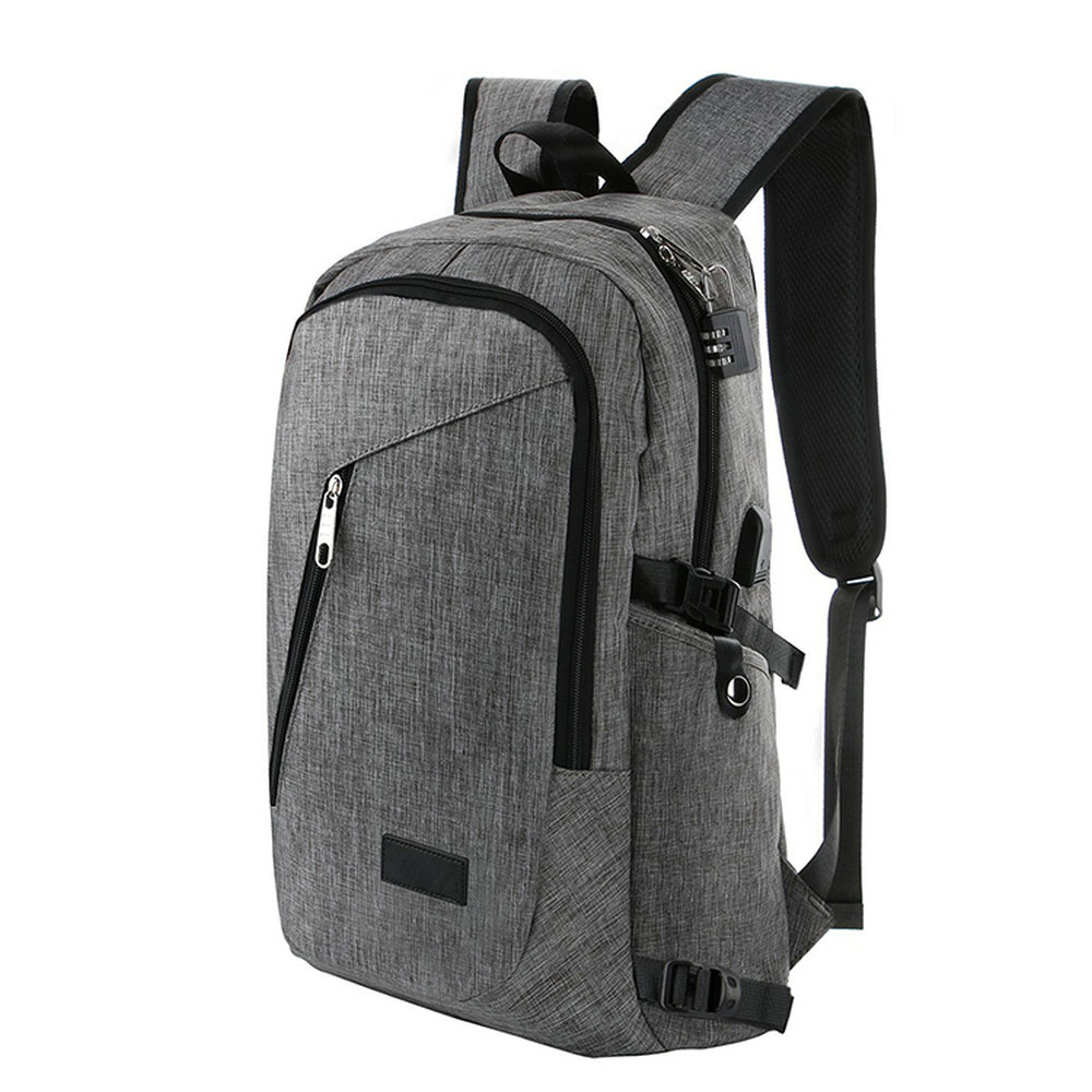 Business Water Resistant Polyester men's Laptop Backpack with USB Charging Port and Lock with power bank